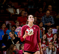 STANFORD, CA - November 3, 2018: Audriana Fitzmorris at Maples Pavilion. No. 1 Stanford Cardinal defeated No. 15 Colorado Buffaloes 3-2.