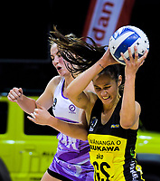 Ameliaranne Ekanasio takes a pass during the ANZ Premiership netball match between the Central Pulse and Northern Stars at the TSB Bank Arena in Wellington, New Zealand on Monday, 13 May 2019. Photo: Dave Lintott / lintottphoto.co.nz