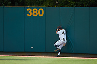 Army Black Knights right fielder Drake Titus (4) can't haul in this fly ball during the game against the North Carolina State Wolfpack at Doak Field at Dail Park on June 3, 2018 in Raleigh, North Carolina. The Wolfpack defeated the Black Knights 11-1. (Brian Westerholt/Four Seam Images)