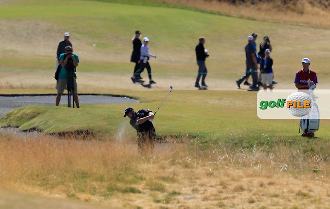 Shane LOWRY (IRL) plays his 2nd shot from the sand on the 5th hole during Friday's Round 2 of the 2015 U.S. Open 115th National Championship held at Chambers Bay, Seattle, Washington, USA. 6/19/2015.<br /> Picture: Golffile | Eoin Clarke<br /> <br /> <br /> <br /> <br /> All photo usage must carry mandatory copyright credit (&copy; Golffile | Eoin Clarke)