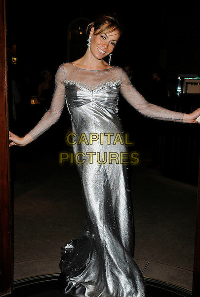 "TARA PALMER TOMKINSON.Attending her Book launch party for ""Inheritance"" at Asprey, New Bond Street, London, England, UK,  September 28th 2010..full length TPT silver shiny long maxi dress sheer sleeves sleeve see thru through sparkly .CAP/CAN.©Can Nguyen/Capital Pictures."