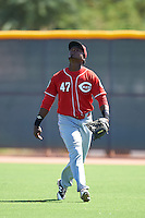 Cincinnati Reds Raul Wallace (47) during an Instructional League game against the Texas Rangers on October 4, 2016 at the Surprise Stadium Complex in Surprise, Arizona.  (Mike Janes/Four Seam Images)