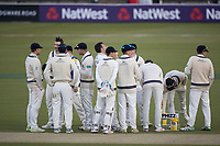 The Middlesex players take on some refreshment during Middlesex CCC vs Lancashire CCC, Specsavers County Championship Division 2 Cricket at Lord's Cricket Ground on 13th April 2019