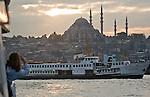 Suleymaniye Camii,  mosque, Golden Horn, Karakoy, harbor, ships, Istanbul, Turkey,
