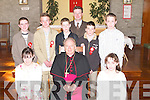 A great day for the pupils of Ballyduff Central National School as the Bishop of Kerry Bill Murphy confirmed them in St Peter & Pauls Church on Thursday. Front l-r: Laura Oliver and Sophie Hanson. Back l-r: Maurice Tracey, Jonathan Ross, Kevin Bowler, Pat Walsh (Principal), Darren O'Gorman and Mike Sheehy..