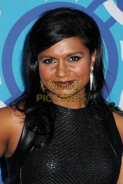 Mindy Kaling<br /> 2013 FOX Fall Eco-Casino Party held at The Bungalow, Santa Monica, California, USA.<br /> September 9th, 2013<br /> headshot portrait black sleeveless leather red lipstick <br /> CAP/ADM/BP<br /> &copy;Byron Purvis/AdMedia/Capital Pictures