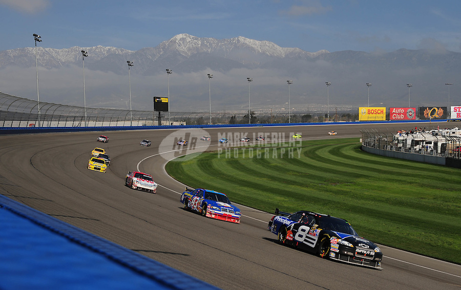 Feb 25, 2008; Fontana, CA, USA; NASCAR Sprint Cup Series driver Mark Martin (8) leads Bobby Labonte (43) during the Auto Club 500 at Auto Club Speedway. Mandatory Credit: Mark J. Rebilas-US PRESSWIRE