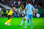 09.08.2019, Merkur Spiel-Arena, Düsseldorf, GER, DFB Pokal, 1. Hauptrunde, KFC Uerdingen vs Borussia Dortmund , DFB REGULATIONS PROHIBIT ANY USE OF PHOTOGRAPHS AS IMAGE SEQUENCES AND/OR QUASI-VIDEO<br /> <br /> im Bild | picture shows:<br /> Jadon Sancho (Borussia Dortmund #7) im Duell mit Franck Evina (KFC Uerdingen #18), <br /> <br /> Foto © nordphoto / Rauch