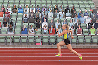 Runner Alice Ulla Berg practice in front of cardboard spectators at Bislett Stadium in central Oslo. <br /> <br /> Covid19 has affected all aspects of society in Norway since mid March, and although some things are going back to normal, others are not. It isi not likely to see arenas packed full of actual spectators any time soon. <br /> <br /> ©Fredrik Naumann/Felix Features