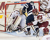 Brian Billett (BC - 1), Michael Kirkpatrick (StFX - 18), Danny Linell (BC - 10) - The Boston College Eagles defeated the visiting St. Francis Xavier University X-Men 8-2 in an exhibition game on Sunday, October 6, 2013, at Kelley Rink in Conte Forum in Chestnut Hill, Massachusetts.