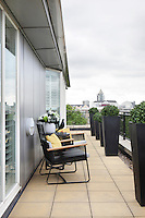 A paved roof terrace overlooking the sights of Chelsea.