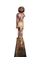 Ancient Egyptian wooden statue,  Middle Kingdom (1980-1700 BC), tomb of Shimes, Asyut. Egyptian Museum, Turin.  white background.