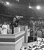 United States Senator Bob Dole (Republican of Kansas) waves from the podium of the 1976 Republican National Convention at the Kemper Arena in Kansas City, Missouri on Tuesday, August 17, 1976. Dole will be the 1976 GOP nominee for Vice President of the United States and will be on the ticket with US President Gerald R. Ford.<br /> Credit: Arnie Sachs / CNP
