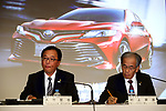 August 4, 2017, Tokyo, Japan - Japan's automobile giant Toyota Motor senior managing officers Tetsuya Otake (L) and Nobuhiko Murakami announce the company's first quarter financial result at Toyota's Tokyo office on Friday, August 4, 2017. Toyota revised consolidated financial forecasts, operating income of 1.85 trillion yen and net income of 1.75 trillion yen as a weak yen.  (Photo by Yoshio Tsunoda/AFLO) LwX -ytd-
