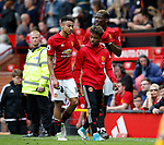 Jesse Lingard of Manchester United with Paul Pogba and Angel Gomes of Manchester United during the English Premier League match at the Old Trafford Stadium, Manchester. Picture date: May 21st 2017. Pic credit should read: Simon Bellis/Sportimage