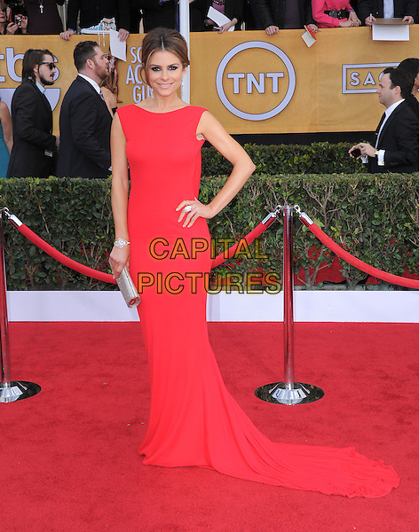 Maria Menounos.Arrivals at the 19th Annual Screen Actors Guild Awards at the Shrine Auditorium in Los Angeles, California, USA..27th January 2013.SAG SAGs full length red dress train silver clutch bag hand on hip.CAP/DVS.©DVS/Capital Pictures.
