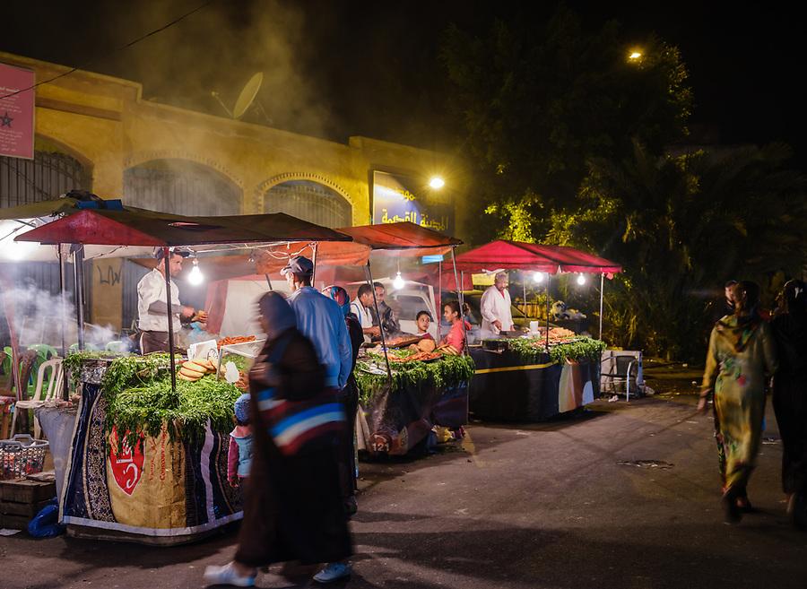 CASABLANCA, MOROCCO - CIRCA APRIL 2017:  Food street stalls at night at the  Medina and  in  Casablanca