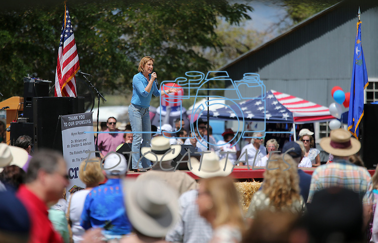 Republican presidential candidate Carly Fiorina speaks to a crowd of about 1,500 at the Inaugural Basque Fry GOP event in Gardnerville, Nev., on Wednesday, Aug. 12, 2015.<br /> Photo by Cathleen Allison