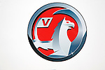 Close up of Vauxhall logo, car sales dealership, Ransomes Europark, Ipswich, Suffolk, England