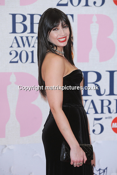 NON EXCLUSIVE PICTURE: PAUL TREADWAY / MATRIXPICTURES.CO.UK<br /> PLEASE CREDIT ALL USES<br /> <br /> WORLD RIGHTS<br /> <br /> English model Daisy Lowe attending the BRIT Awards 2015 at the O2 Arena, in London.<br /> <br /> FEBRUARY 25th 2015<br /> <br /> REF: PTY 15627
