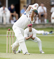 George Adair of Hampstead plays and misses during the ECB Middlesex Premier League game between North Middlesex and Hampstead at Park Road, Crouch End on Saturday May 17, 2014