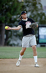 POWAY, CA - JULY 16:  Quarterback Philip Rivers of the San Diego Chargers on field at shortstop for his team the &quot;Valley Farm League&quot;  during their semi-final game in the Regular Joe League at the Poway Sportsplex Softball Field on July 16, 2014 in Poway, California. (CREDIT: Donald Miralle for the Wall Street Journal) <br /> chargers