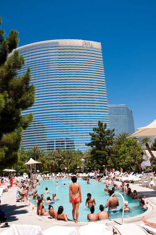 USA Las Vegas, Aria resort on the Strip, with its emphasis on design and outdoor pools. People enjoying the pools.