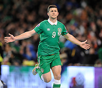 29th March 2015; UEFA EURO 2016 Championship Qualifier Group D, Ireland vs Poland, Aviva Stadium, Dublin<br /> Shane Long celebrates after scoring Republic of Ireland's equalising goal.<br /> Picture credit: Tommy Grealy/actionshots.ie.