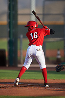 AZL Reds Sebastian Almonte (16) at bat during an Arizona League game against the AZL Athletics Green on July 21, 2019 at the Cincinnati Reds Spring Training Complex in Goodyear, Arizona. The AZL Reds defeated the AZL Athletics Green 8-6. (Zachary Lucy/Four Seam Images)