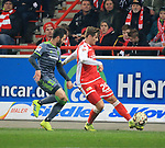 08.03.2019, Stadion an der Wuhlheide, Berlin, GER, 2.FBL, 1.FC UNION BERLIN  VS. FC Ingolstadt 04, <br /> DFL  regulations prohibit any use of photographs as image sequences and/or quasi-video<br /> im Bild Christopher Lenz (1.FC Union Berlin #25), Cenk Sahin(FC Ingolstadt #17)<br /> <br />      <br /> Foto &copy; nordphoto / Engler