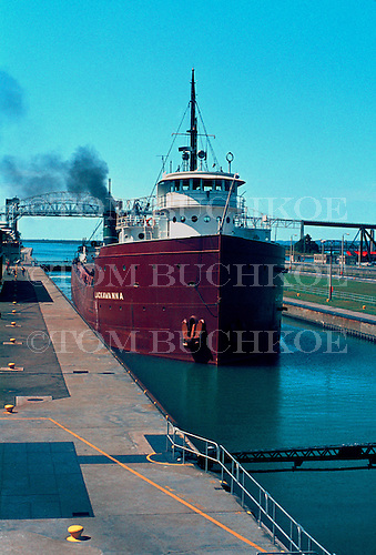 M/V LackawannaM/V Lackawanna movesinto the Soo Locks in Sault Ste Marie, Michigan.