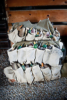 Duck decoys in a blind owned by Lynn Berggren (cq)  just off the duck-rich Platte River in Nebraska, Saturday, December 3, 2011....Photo by Matt Nager