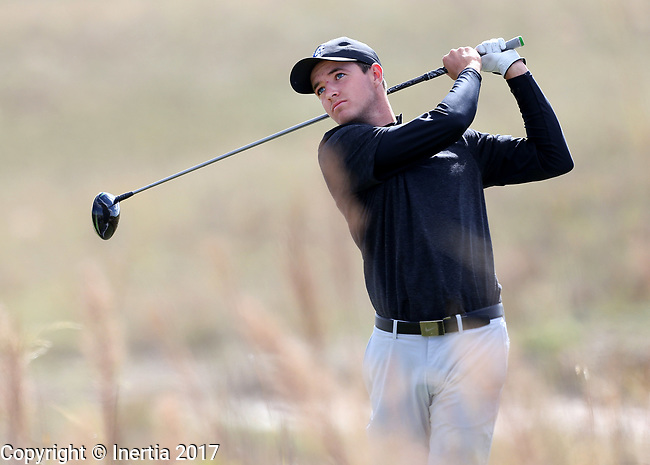 VALENTINE, NE - OCTOBER 3: Bradley Keyer from Creighton watches his tee shot on the 6th hole during the final round of the South Dakota State Invitational Tuesday at The Prairie Club in Valentine, NE. (Photo by Dave Eggen/Inertia)