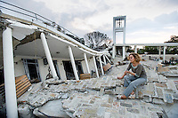 Devastation after the January 12, 2010 earthquake. Maria Isabel Moreno, owner of Galerie Flamboyant, which was destroyed at the Hotel Montana. Lost large masterpieces of Stivinson Magloire, Pierre Prosper, Louis Lyonel.