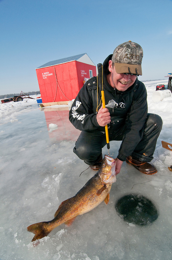 An ice fisherman with a trophy walleye (Stizostedion vitreum) caught on Little Bay de Noc near Gladstone and Escanaba Michigan.
