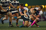 Natixis HKFC (in black and white stripes) plays against Projecx Waterboys (in blue) during GFI HKFC Rugby Tens 2016 on 06 April 2016 at Hong Kong Football Club in Hong Kong, China. Photo by Juan Manuel Serrano / Power Sport Images