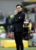 Calcio, Serie A: Milano, stadio Giuseppe Meazza (San Siro), 1 ottobre 2017.<br /> Milan's coach Vincenzo Montella reacts during the Italian Serie A football match between Milan and AS Roma at Milan's Giuseppe Meazza (San Siro) stadium, October 1, 2017.<br /> UPDATE IMAGES PRESS/IsabellaBonotto