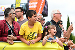 Young fans at sign on before Stage 7 of the Criterium du Dauphine 2019, running 133.5km from Saint-Genix-les-Villages to Les Sept Laux - Pipay, France. 15th June 2019.<br /> Picture: ASO/Alex Broadway | Cyclefile<br /> All photos usage must carry mandatory copyright credit (© Cyclefile | ASO/Alex Broadway)