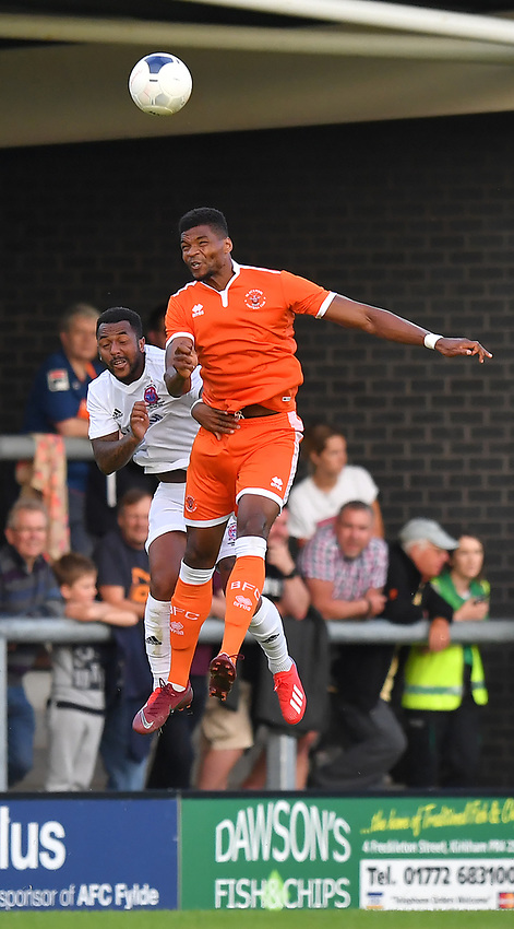 Blackpool's Michael Nottingham in action<br /> <br /> Photographer Dave Howarth/CameraSport<br /> <br /> Football Pre-Season Friendly - AFC Fylde v Blackpool - Tuesday July 16th 2019 - Mill Farm - Fylde<br /> <br /> World Copyright © 2019 CameraSport. All rights reserved. 43 Linden Ave. Countesthorpe. Leicester. England. LE8 5PG - Tel: +44 (0) 116 277 4147 - admin@camerasport.com - www.camerasport.com