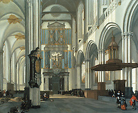 "Emanuel De Witte: Interior of the Nieuwe Kerk, Amsterdam 1657. The ""New"" church was begun in the 15th C. It burned and was restored just before De  Witte's painting. Reference only."