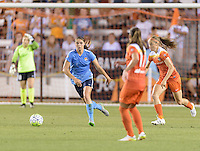 Houston, TX - Friday April 29, 2016: Erica Skroski (8) of Sky Blue FC attempts to clear the ball away from her side of the field against the Houston Dash at BBVA Compass Stadium. The Houston Dash tied Sky Blue FC 0-0.