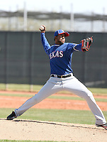 Francisco Mendoza of the Texas Rangers  plays in a minor league spring training game against the Kansas City Royals at the Rangers complex on March 22, 2011  in Surprise, Arizona. .Photo by:  Bill Mitchell/Four Seam Images.
