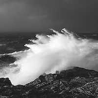 The storm on the 8th of February hits the cliffs at Lands End and sends spray into over 200ft into the air.