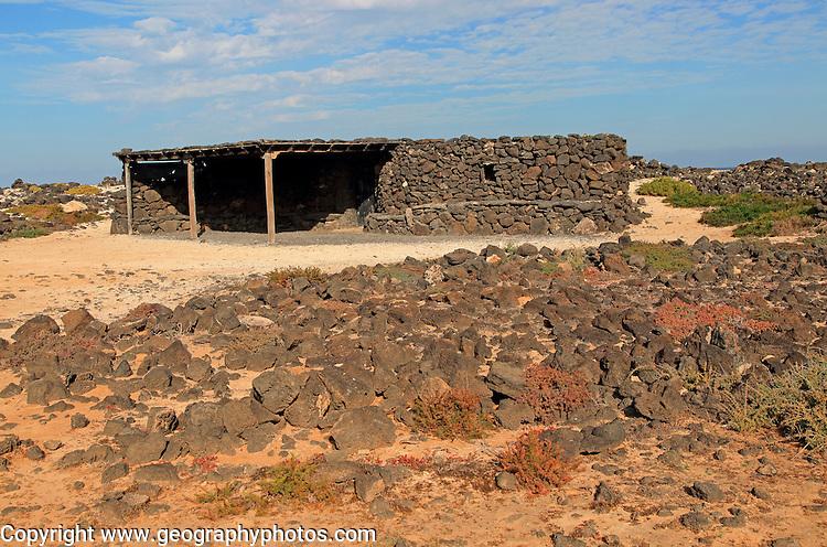 Stone farm building near Majanicho on north coast of Fuerteventura, Canary Islands, Spain