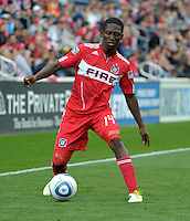 Chicago forward Patrick Nyarko (14) makes a move with the ball.  The Chicago Fire defeated the New England Revolution 3-2 at Toyota Park in Bridgeview, IL on Sept. 25, 2011.