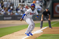 Vladimir Guerrero Jr. (47) of the Buffalo Bison takes his lead off of third base against the Charlotte Knights at BB&T BallPark on August 14, 2018 in Charlotte, North Carolina. The Bison defeated the Knights 14-5.  (Brian Westerholt/Four Seam Images)