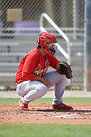 GCL Cardinals catcher Carlos Soto (21) warms up the pitcher in between innings during a game against the GCL Mets on July 23, 2017 at Roger Dean Stadium Complex in Jupiter, Florida.  GCL Cardinals defeated the GCL Mets 5-3.  (Mike Janes/Four Seam Images)