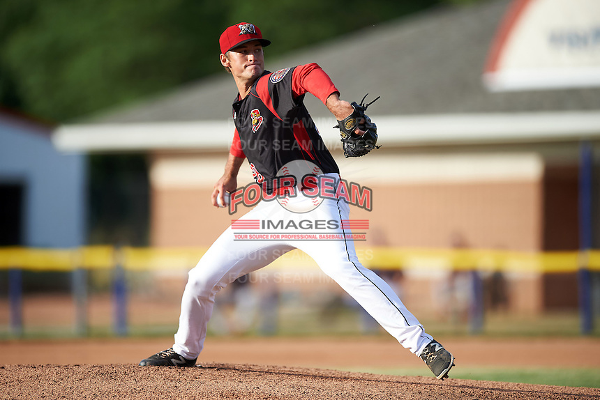 Batavia Muckdogs starting pitcher Reilly Hovis (28) delivers a pitch during a game against the State College Spikes on June 22, 2016 at Dwyer Stadium in Batavia, New York.  State College defeated Batavia 11-1.  (Mike Janes/Four Seam Images)