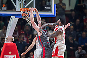 9th February 2018, Aleksandar Nikolic Hall, Belgrade, Serbia; Euroleague Basketball, Crvenz Zvezda mts Belgrade versus AX Armani Exchange Olimpia Milan; Center Arturas Gudaitis of AX Armani Exchange Olimpia Milan dunks while Center Mathias Lessort of Crvena Zvezda mts Belgrade try to block him