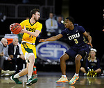 SIOUX FALLS, SD - MARCH 8: Jared Samuelson #11 of the North Dakota State Bison controls the ball as Max Abmas #3 of the Oral Roberts Golden Eagles defends at the 2020 Summit League Basketball Championship in Sioux Falls, SD. (Photo by Richard Carlson/Inertia)